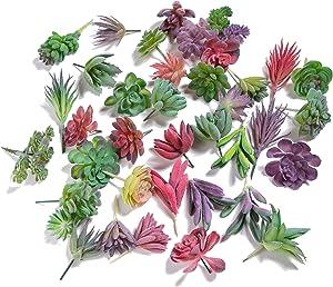 KHALEE Artificial Succulent, Fake Mixed Succulents Man-Made Plants (12 PCS, Flocked Mixed)