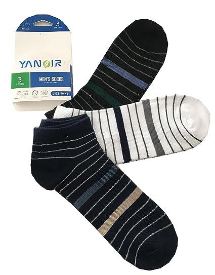 Yanoir 3 Pares Calcetines Fantasmino Pariscarpa para Hombre a Rayas – Calcetines Sport Rayas Colores,