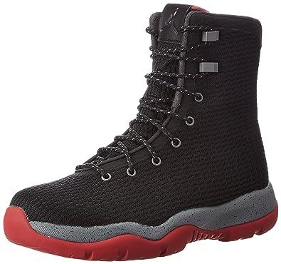 Mens Jordan Future Boot Black/Red-Grey Fabric Size 11
