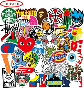 Cool Brand Stickers 101 Pack Decals for Laptop Computer Skateboard Water Bottles Car Teens Sticker