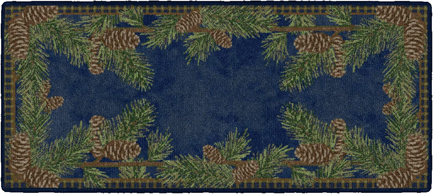 """Brumlow MILLS Pine Cone Rustic Fall Winter Gingham Kitchen or Home Decor Area Rug, 20"""""""" x44, Rectangle, Navy (EW20501-20X44)"""