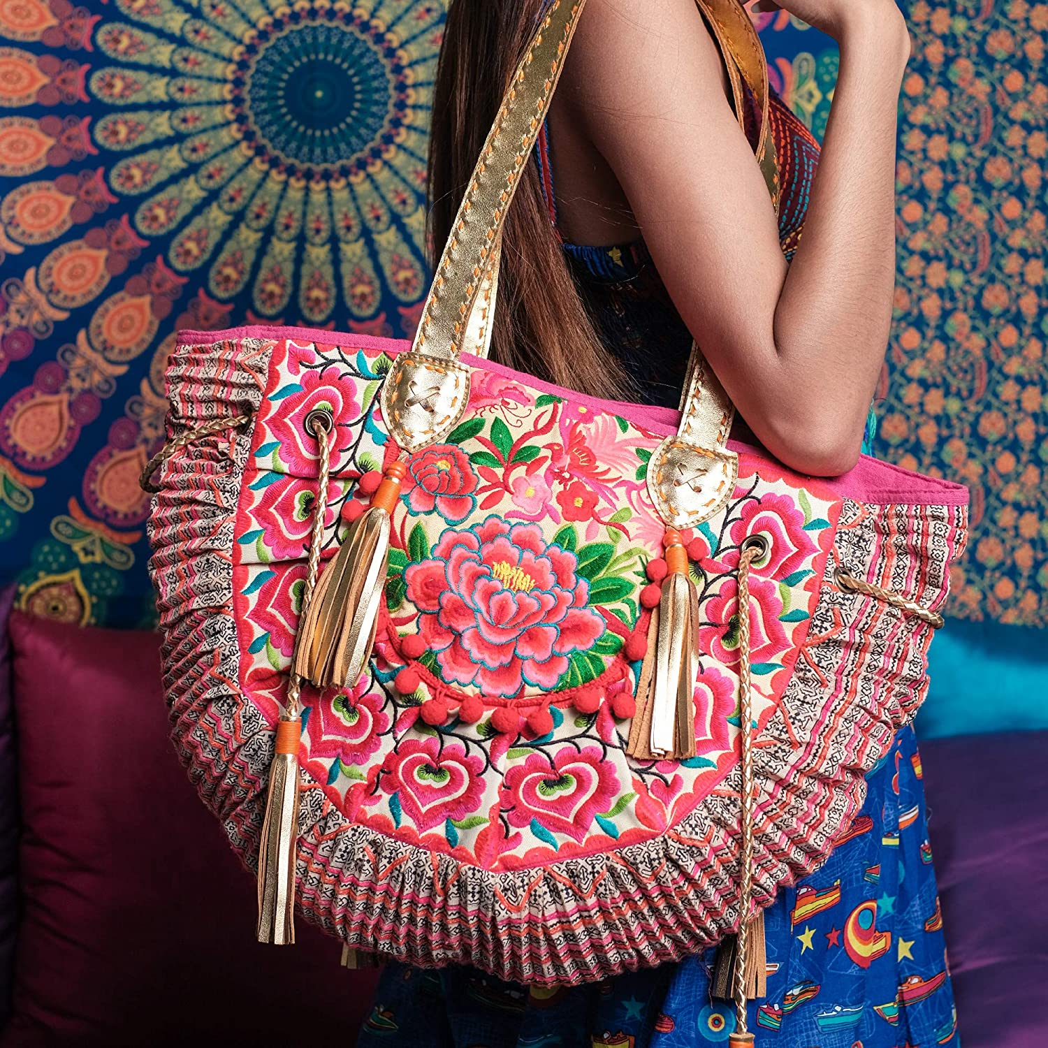 Red-Orange Embroidered Boho Tribe Hmong Handmade Floral Large Tote Purse Bag