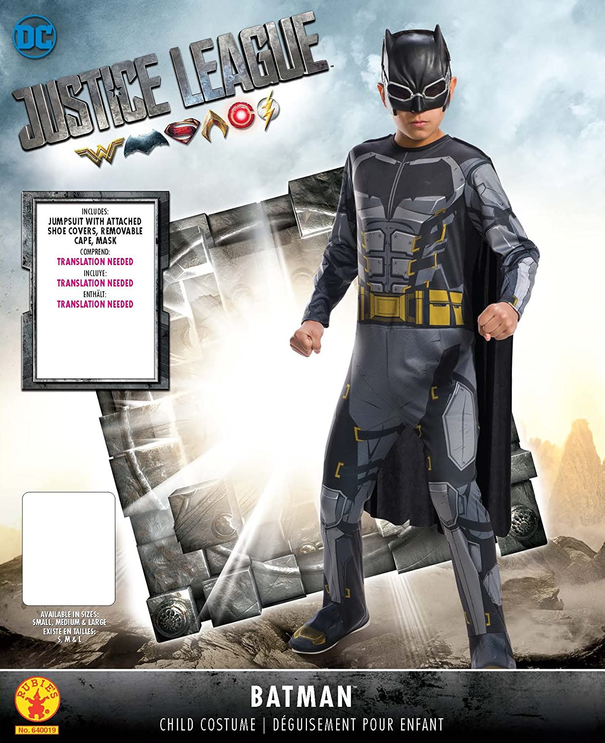 Domestic 640019 Small Rubies Rubies Justice League Childs Tactical Batman Costume