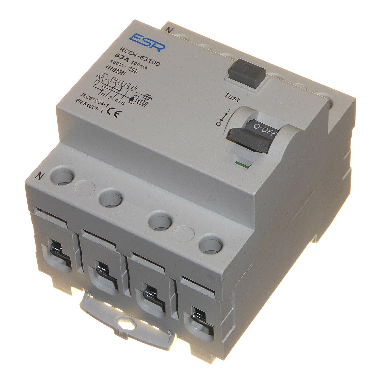 63 Amp 100mA RCD RCCB Trip Switch 4 Pole DIN Rail Three Phase 400 Volt