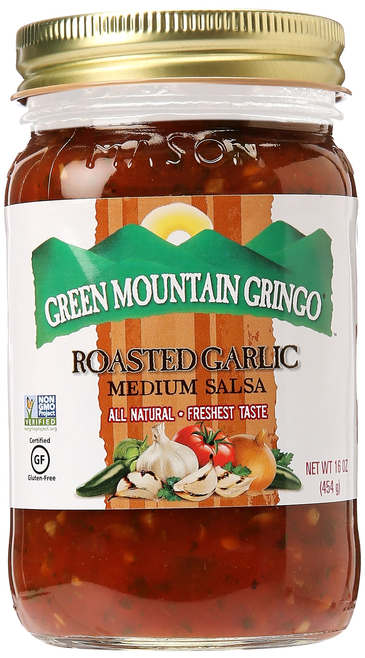 Green Mountain Salsa, Fire Roasted Garlic, 16-Ounce by GREEN MOUNTAIN COFFEE ROASTERS