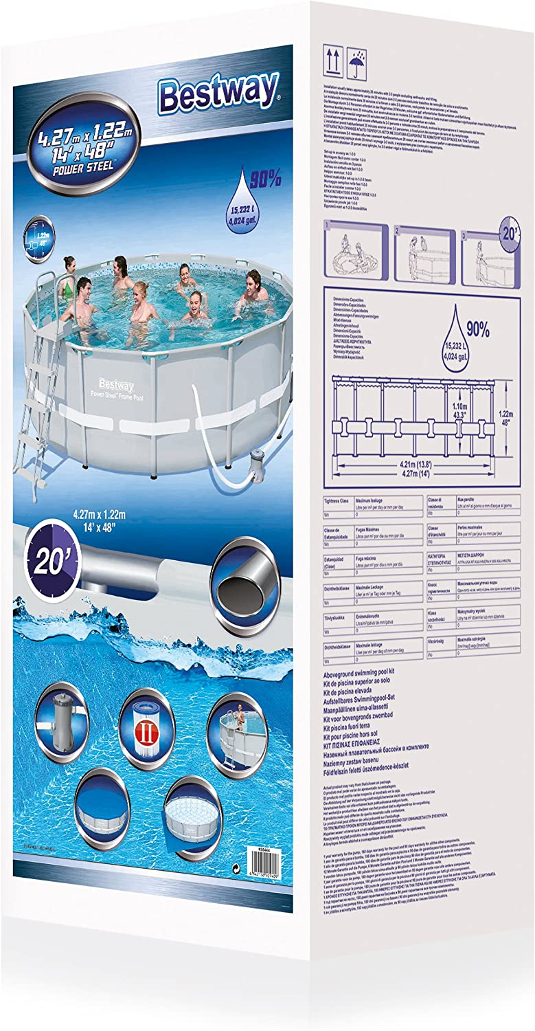 Bestway 56444 Piscina Power Steel con depuradora, Multicolor, M ...