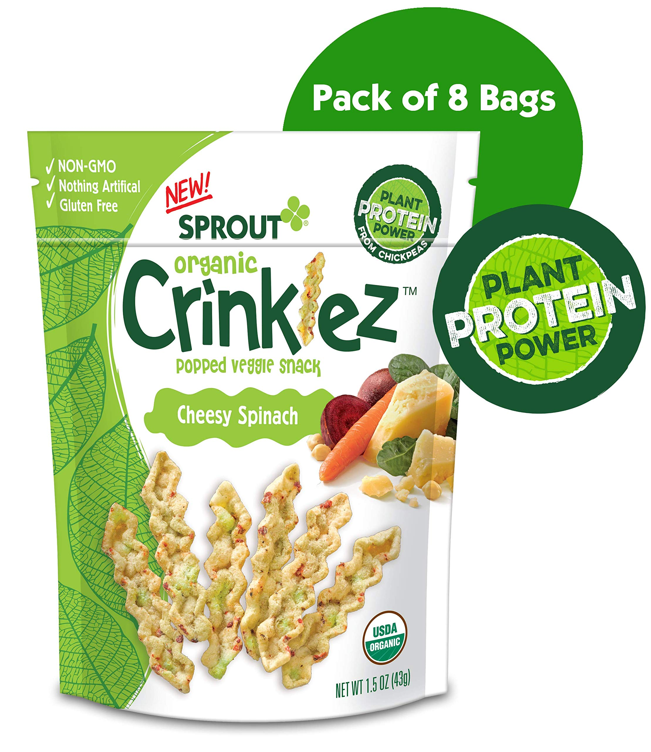 Sprout Organic Crinklez Toddler Snacks, Cheesy Spinach, 1.5 Ounce Bag (Pack of 8) by Sprout