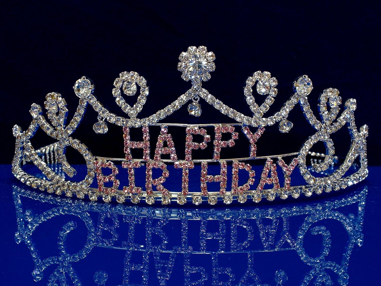 Amazon.com: sparklycrystal Feliz cumpleaños Tiara Corona de ...