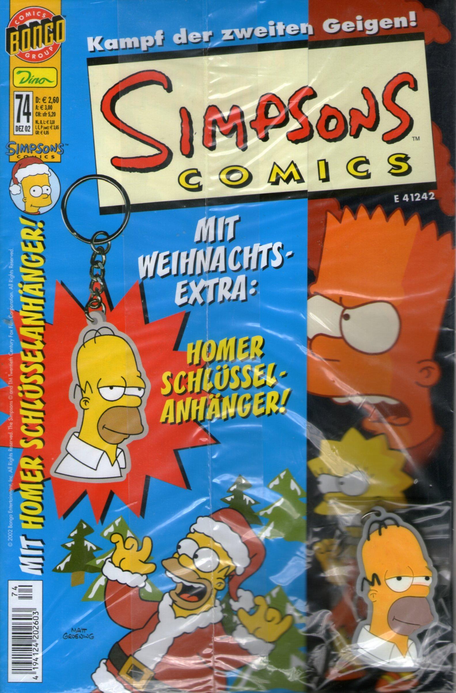 SIMPSONS Comics # 74 - Kampf der zweiten Geigen! Comic inkl. Schlüsselanhänger (Simpsons) Comic – 2002 Panini Comics B008RN9CBA Belletristik - Comic Cartoon