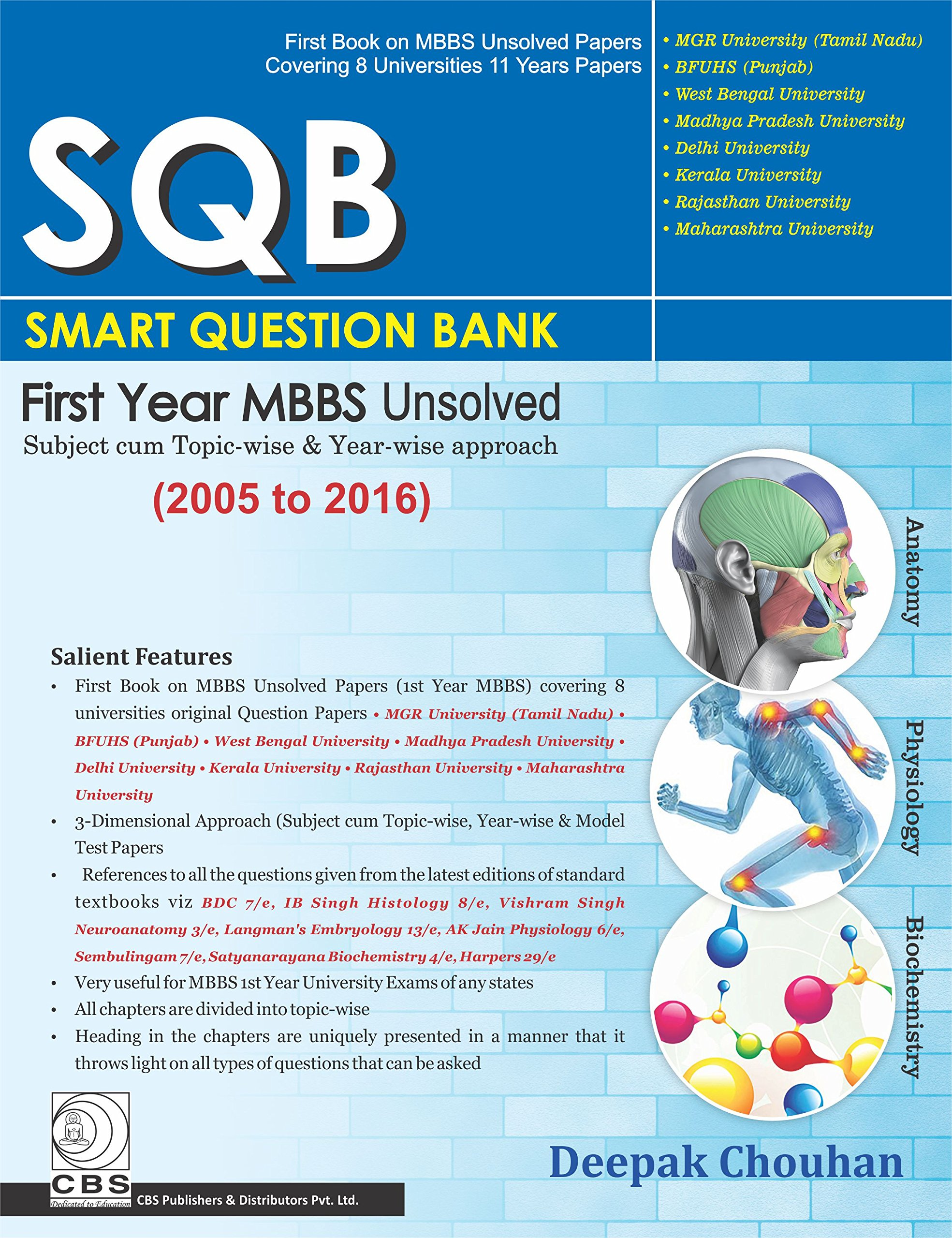 Buy SQB - Smart Question Bank: First Year MBBS Unsolved: (2005-2016 ...