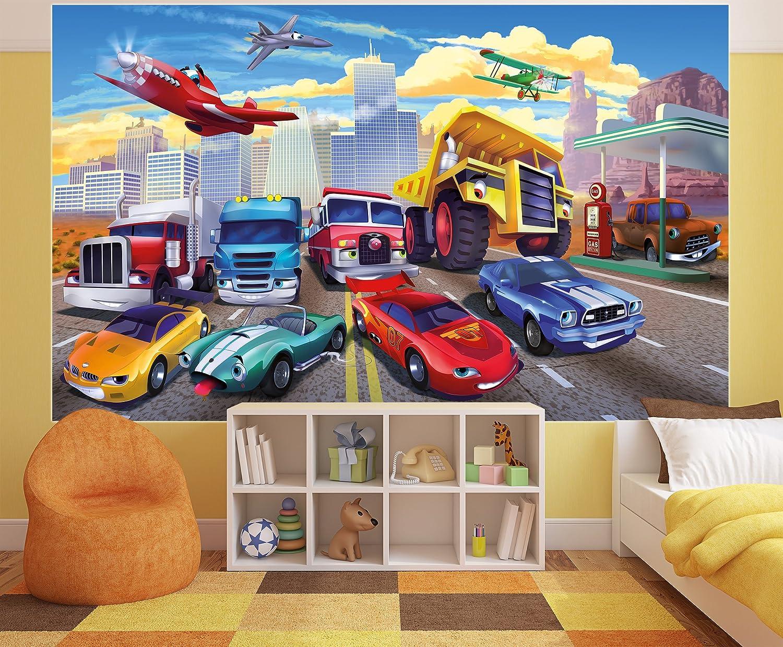 Poster für Kinderzimmer Autorennen Wandbild Dekoration Flugzeug Cars ...