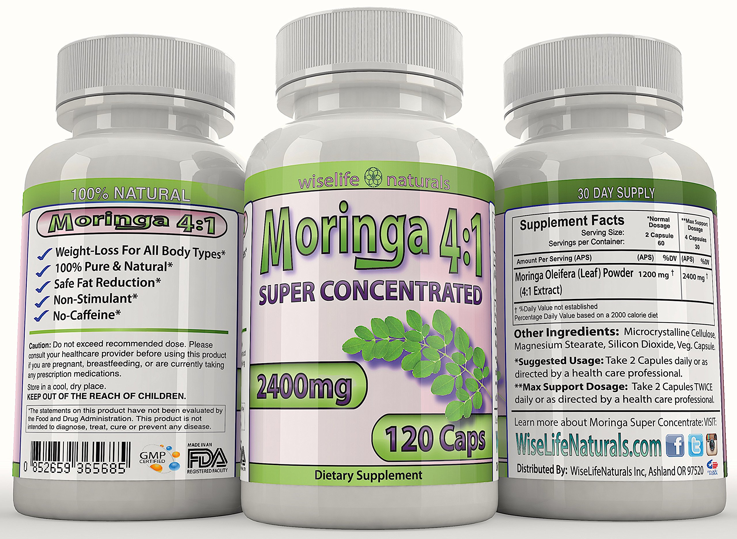 Moringa OLEIFERA 4:1 120ct Energy Focus Weight Loss Brain Mood Memory Max Strength Pill Pure Whole Super Food Immune Booster Anti Aging Diet Supplement Senior Tree Leaf Powder Extract 2400mg Capsules by WiseLifeNaturals