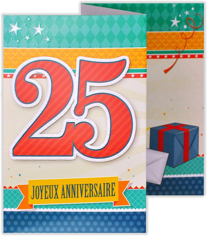 Afie 882127 Carte 3 Volets Joyeux Anniversaire 25 Ans Cartes Postales Fournitures De Bureau