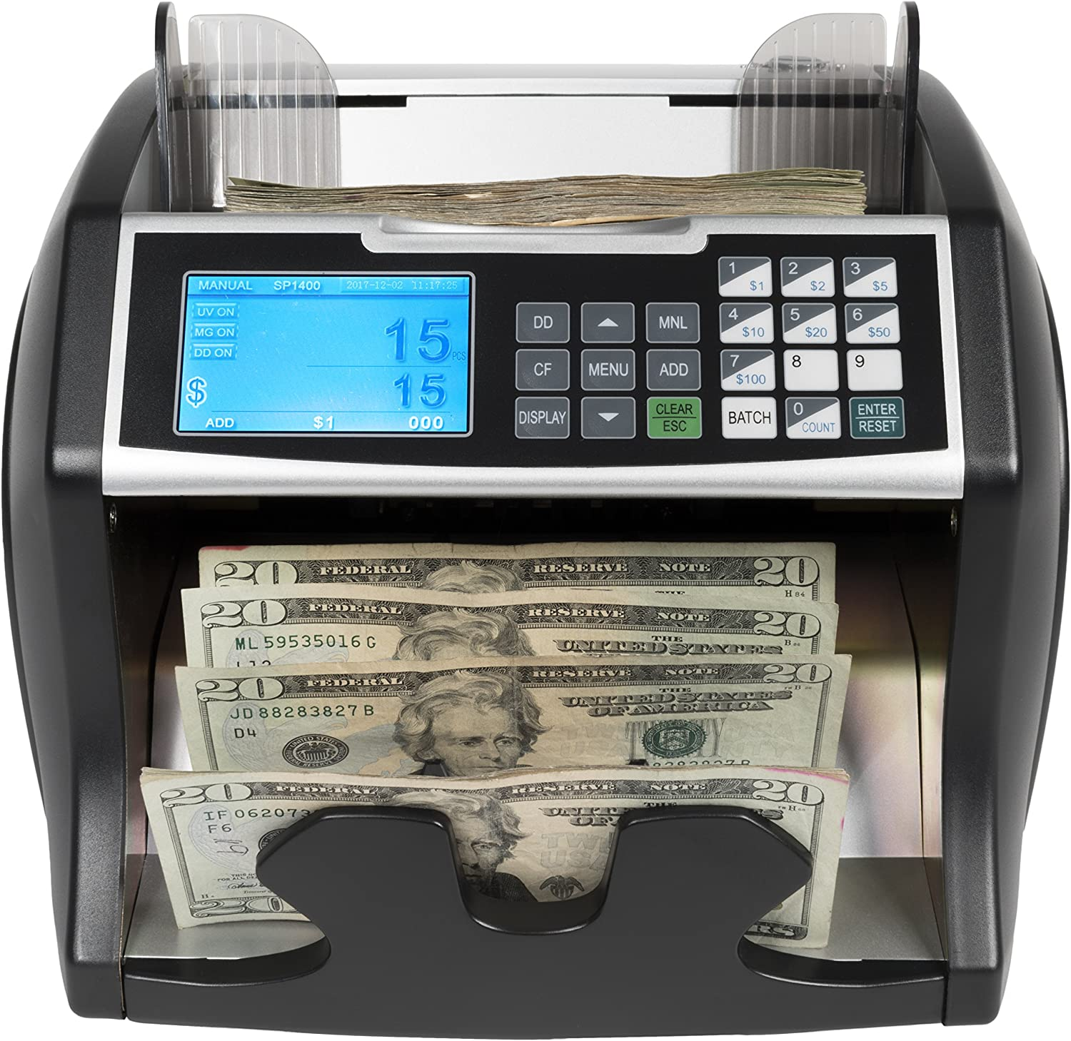 Royal Sovereign High Variable Speed Money Counting Machine, with UV, MG, IR  Counterfeit Bill Detector & Front Loader (RBC-30), Black and Silver