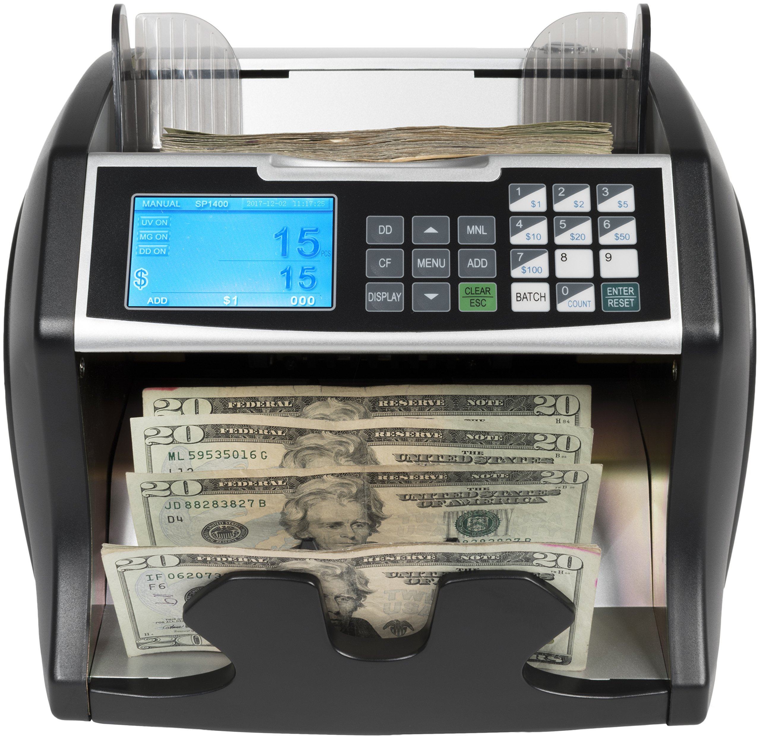 Royal Sovereign High Variable Speed Money Counting Machine, with UV, MG, IR Counterfeit Bill Detector & Front Loader (RBC-4500) by Royal Sovereign