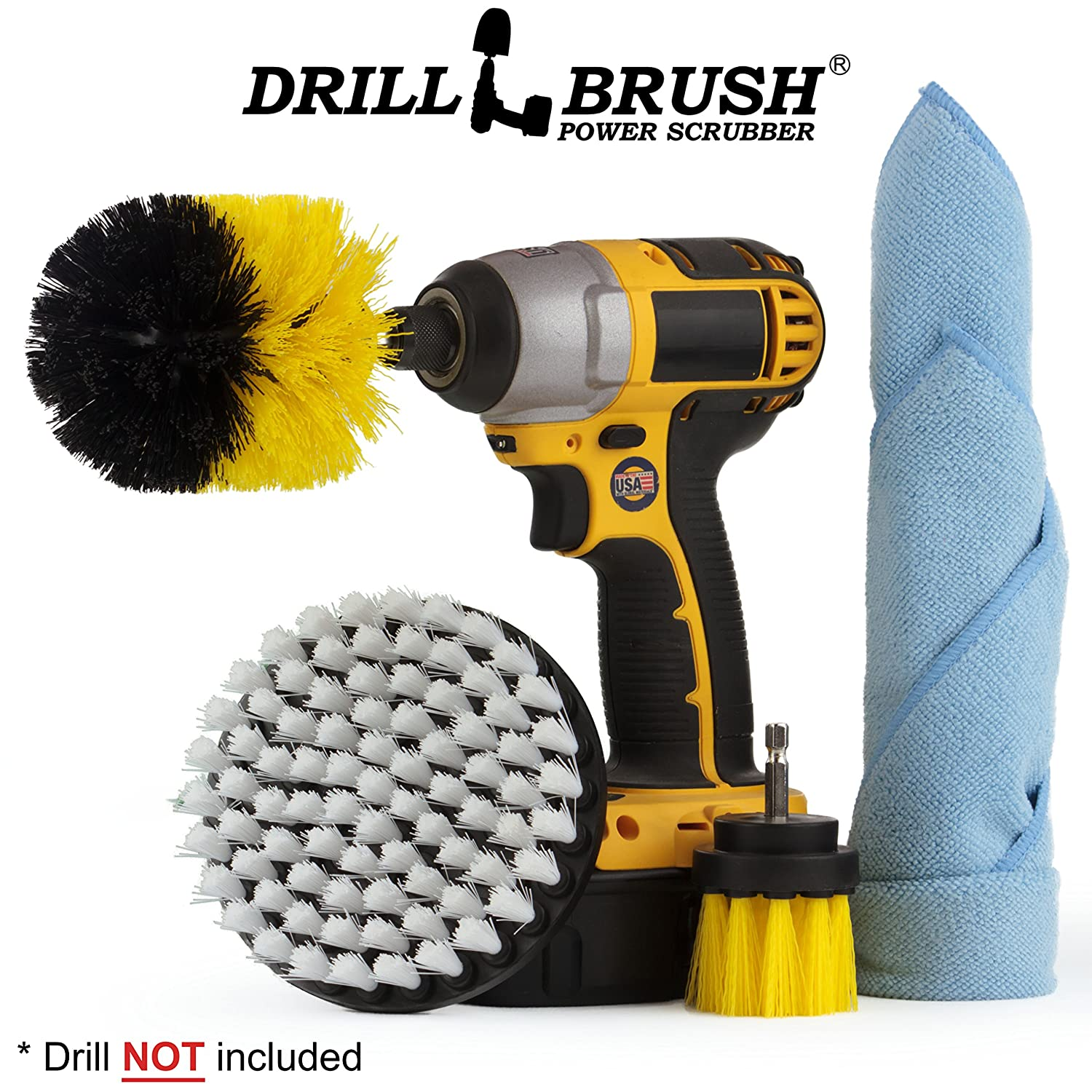 Cleaning - Bathroom Accessories - Drill Brush - Shower Cleaner - Shower Curtain - Shower Door - Shower Curtain - Bathtub - Cast Iron - Bath Mat - Tile - Grout Cleaner - Microfiber Cleaning Cloth Drillbrush