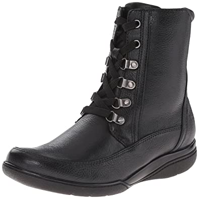 CLARKS Women's Kearns Sirena Boot, Black Lined Leather, ...