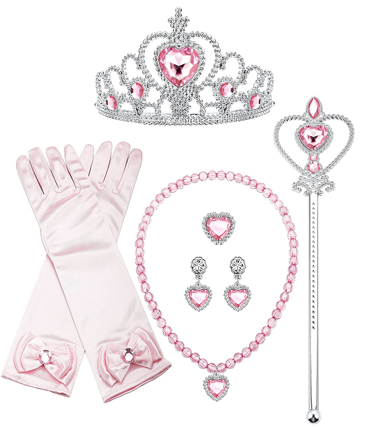 Finrezio 8 Pcs Sofia Princess Aurora Dress up Cosplay Set Girls Costume Party Favor Jewelry Set Aurora Dress up Gloves Crown Wand Necklace Earrings Ring Kids