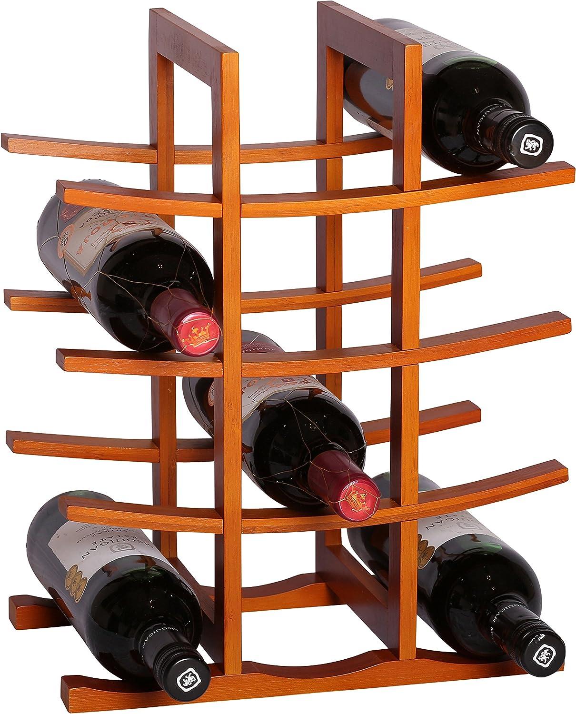 RTA la Pagode 12 Botella Countertop Bamb/ú Botellero Modular Sistema Botellero Marr/ón Oscuro