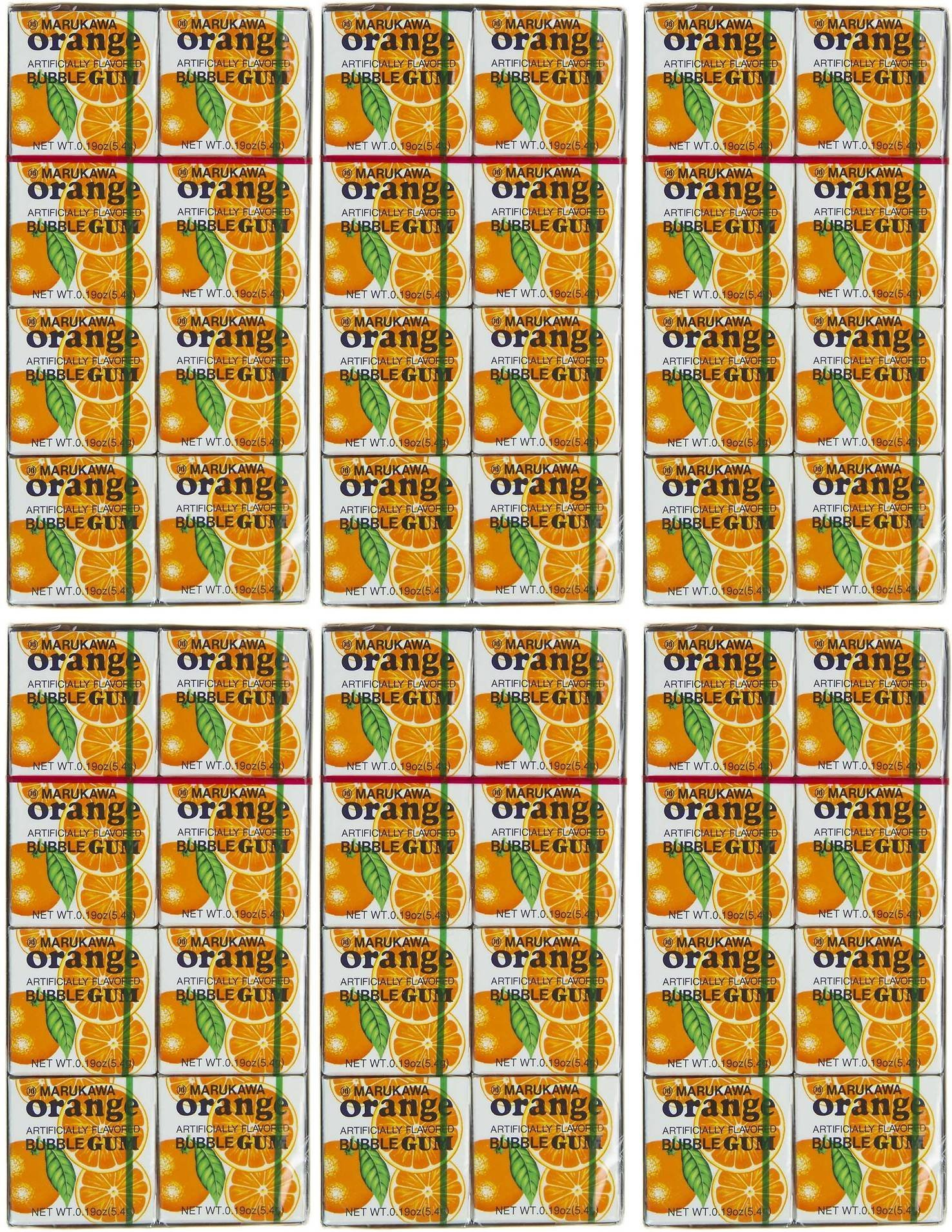 Authentic Japanese Marukawa Orange Flavored Fusen Gum 48 Packs