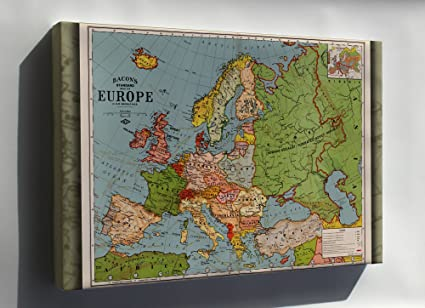 Map Of Spain And Greece.Amazon Com Canvas 24x36 Map Of Europe Spain France Germany Italy