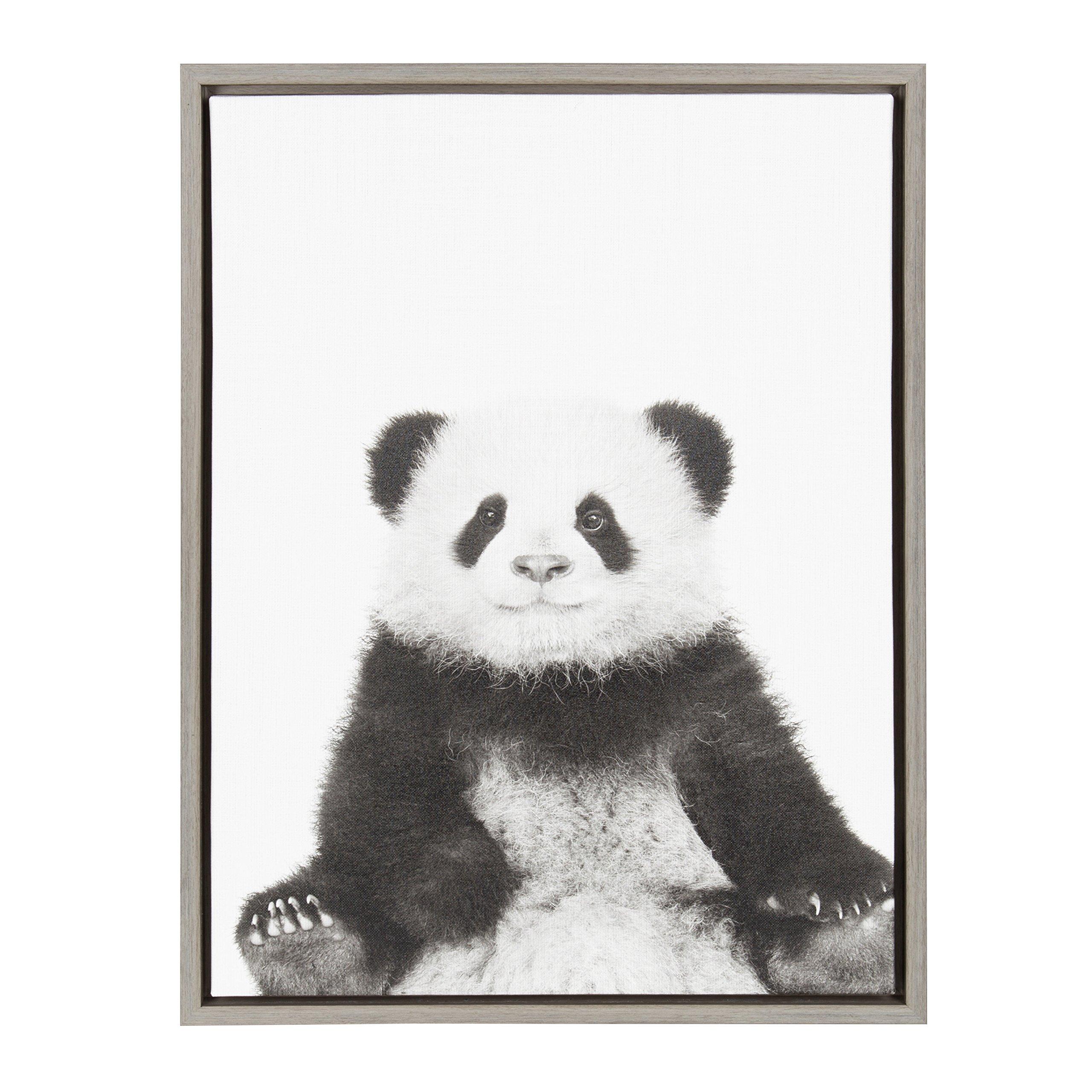 Kate and Laurel Sylvie Panda Animal Print Black and White Portrait Framed Canvas Wall Art by Simon Te Tai, Gray 18x24