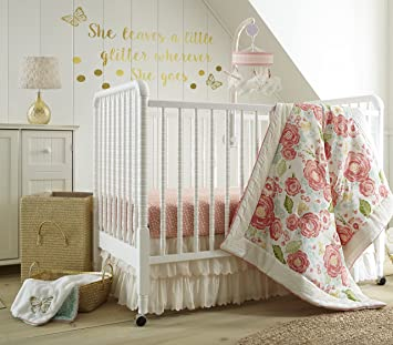 92db1fea43eca Levtex Baby Charlotte Coral and Cream Floral 5 Piece Crib Bedding Set,  Quilt, 100% Cotton Crib Fitted...