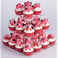 YestBuy 3 Tier Clear Square Acrylic Tree Cupcake Tower (8.7 Inches)