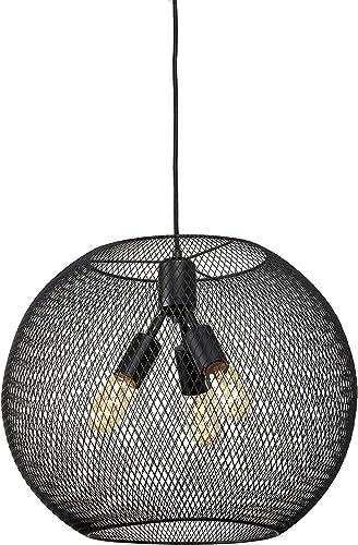 LampLust Industrial Black Mesh Pendant, 3-Light Hanging Ceiling Fixture, Metal Shade, Indoor Use – ETL Listed