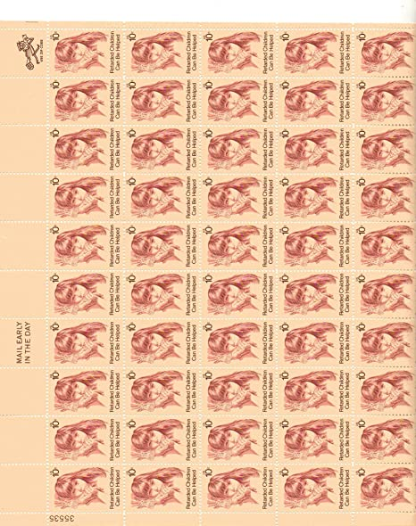 QuotRetarded Childquot Full Sheet Of 50 X 10 Cent Us Postage Stamps Scot