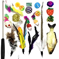 Cat Toys Set 20 pcs Kitten Toys Assortments, 20 pcs/Variety Pack for Cat Tunnel, Bell Crinkle Balls, Feather Wand, Cat…