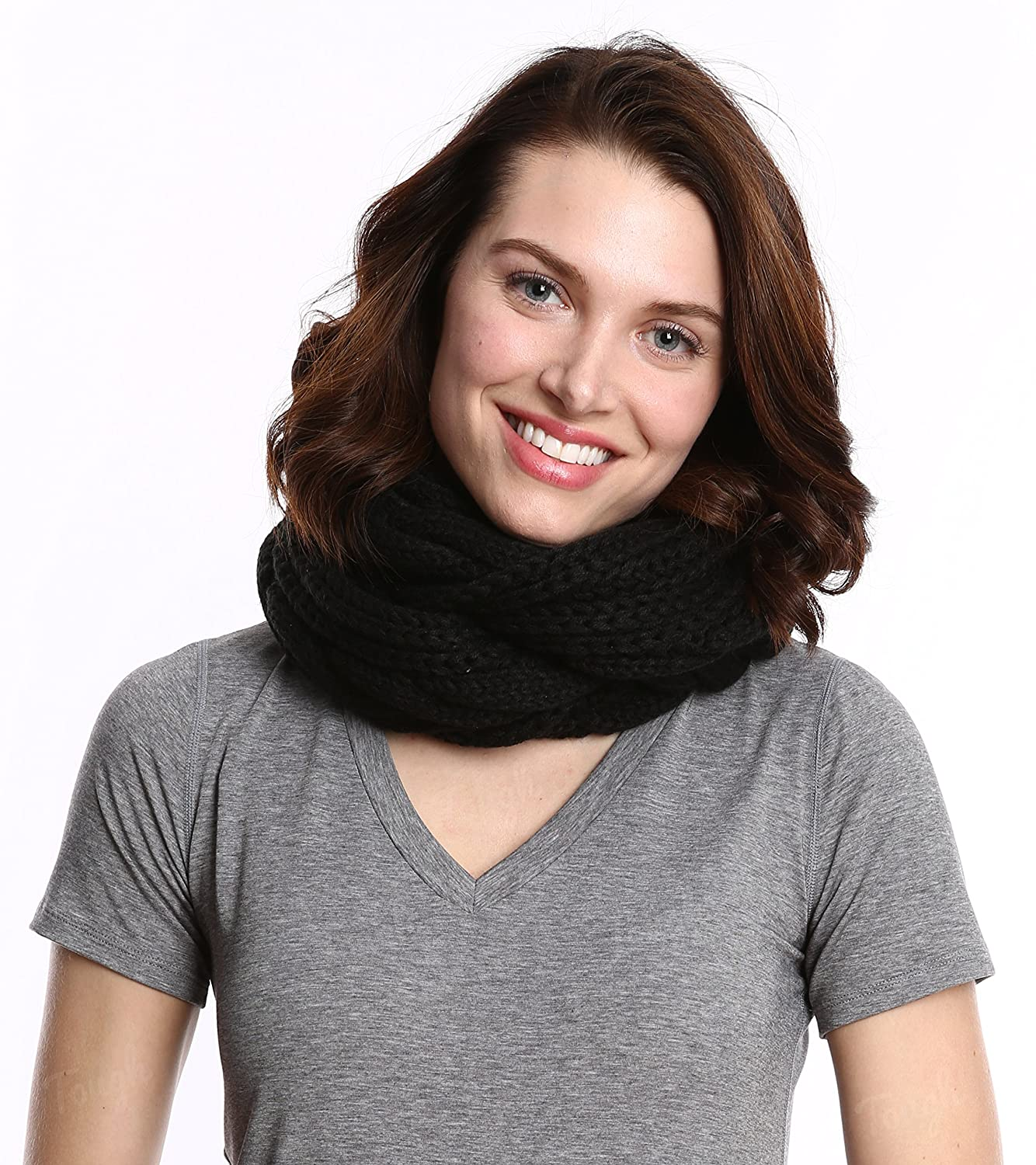 4ac8d9eb34a Chunky Cable Knit Infinity Scarf by Tough Headwear - Stay Warm & Stylish  Year Round - Circle Loop Scarves for Women & Men