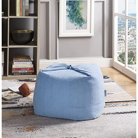 Pleasing Loungie Blue Magic Pouf Beanbag Microplush Fabric 3 In 1 Convertible Ottoman Chair Floor Pillow Machost Co Dining Chair Design Ideas Machostcouk