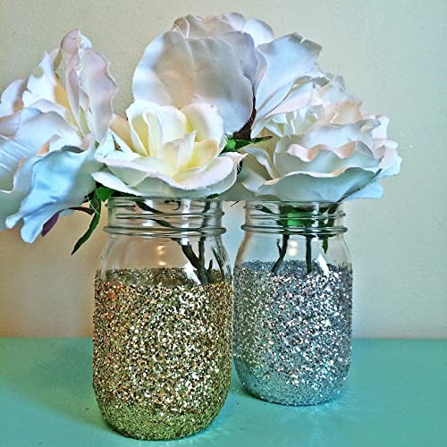 Amazon.com: set of 6 Silver or gold Glitter Glass Mason Jar ...