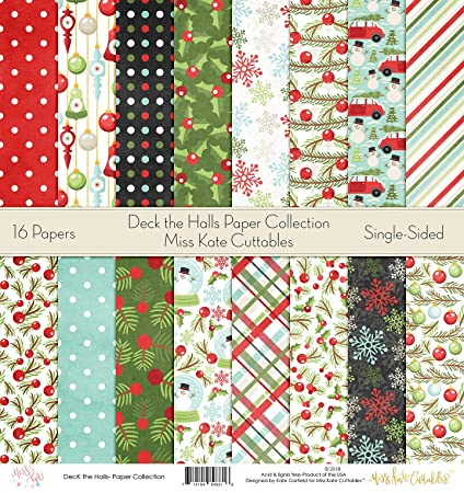 Christmas Scrapbook Paper.Pattern Paper Pack Deck The Halls Christmas Scrapbook Specialty Paper Single Sided 12 X12 Collection Includes 16 Sheets By Miss Kate