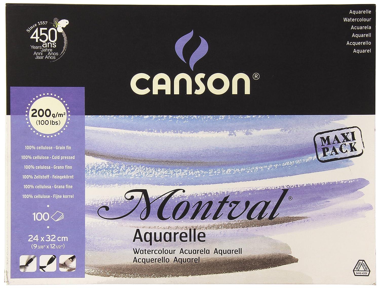 Canson 200807353AQ Montval Fine Watercolour Pencils or on Long Edge 200g/m2–100sheets per pad, 24x 32cm White