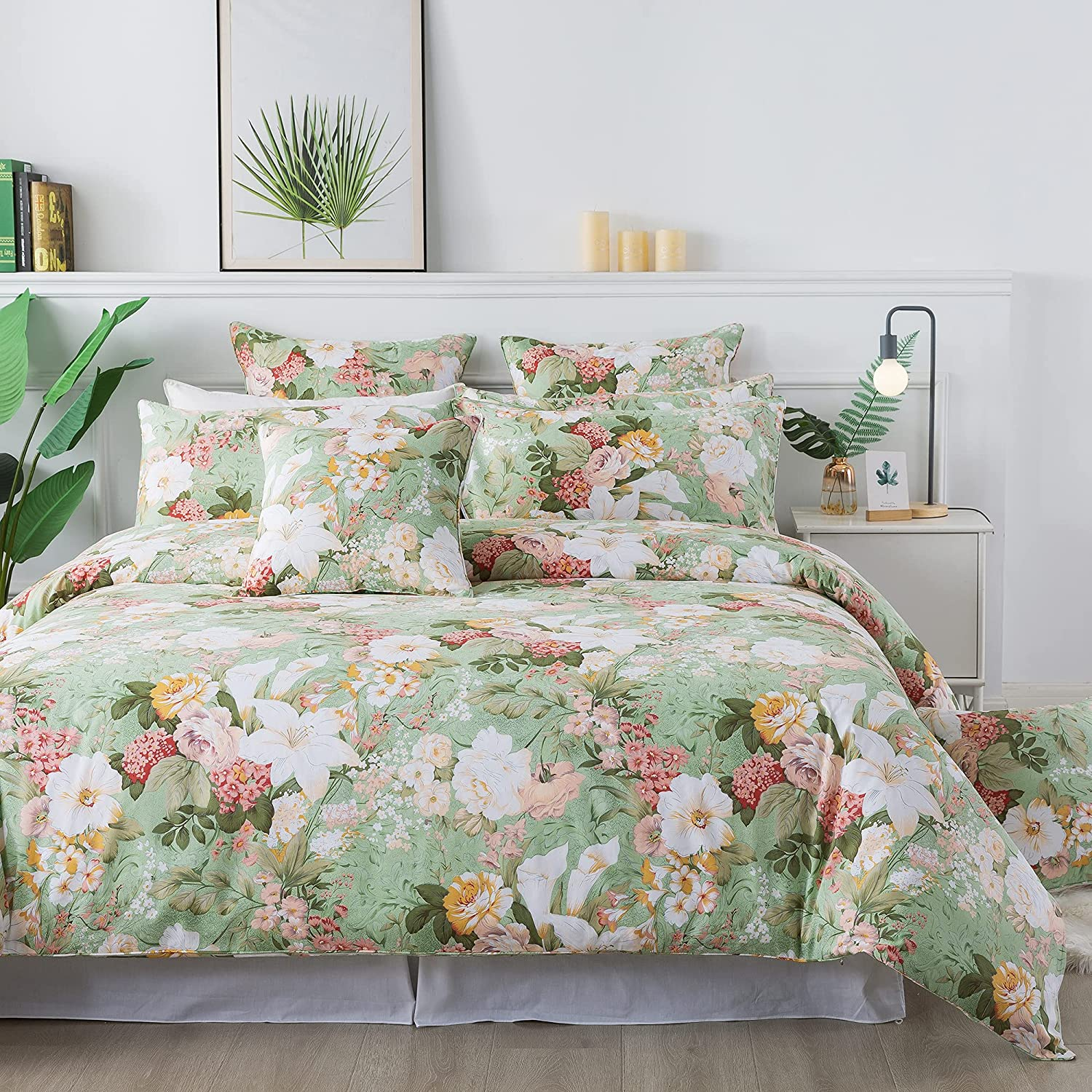 FADFAY Girls Floral Duvet Cover Set Twin 100% Cotton Bedding 600 TC Mint Green and White Flower Elegant Garden Lily Printed Comforter Cover Zipper Corner Ties Soft Hypoallergenic Bed Cover 3 Pcs