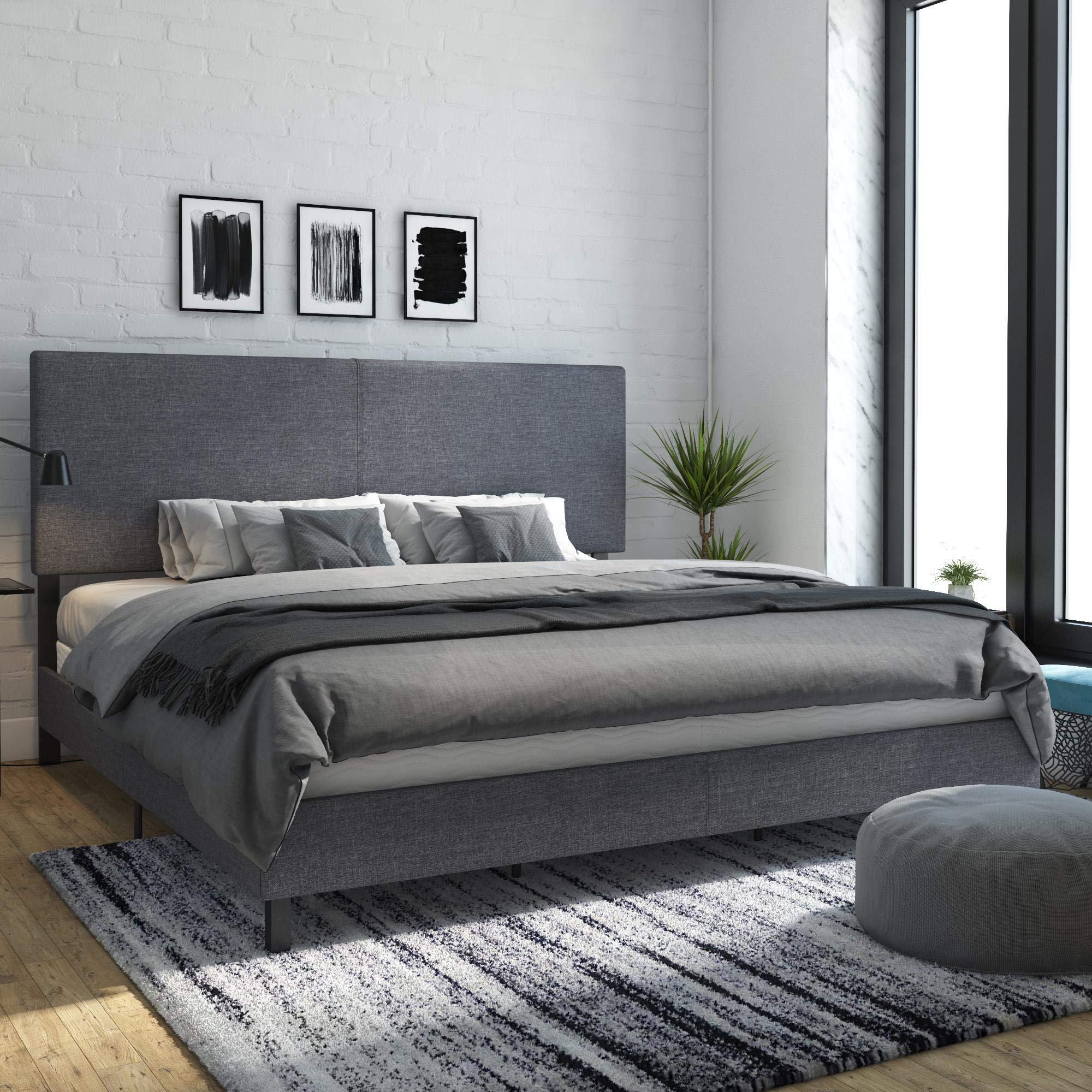 DHP Janford Upholstered Bed, King, Grey by DHP