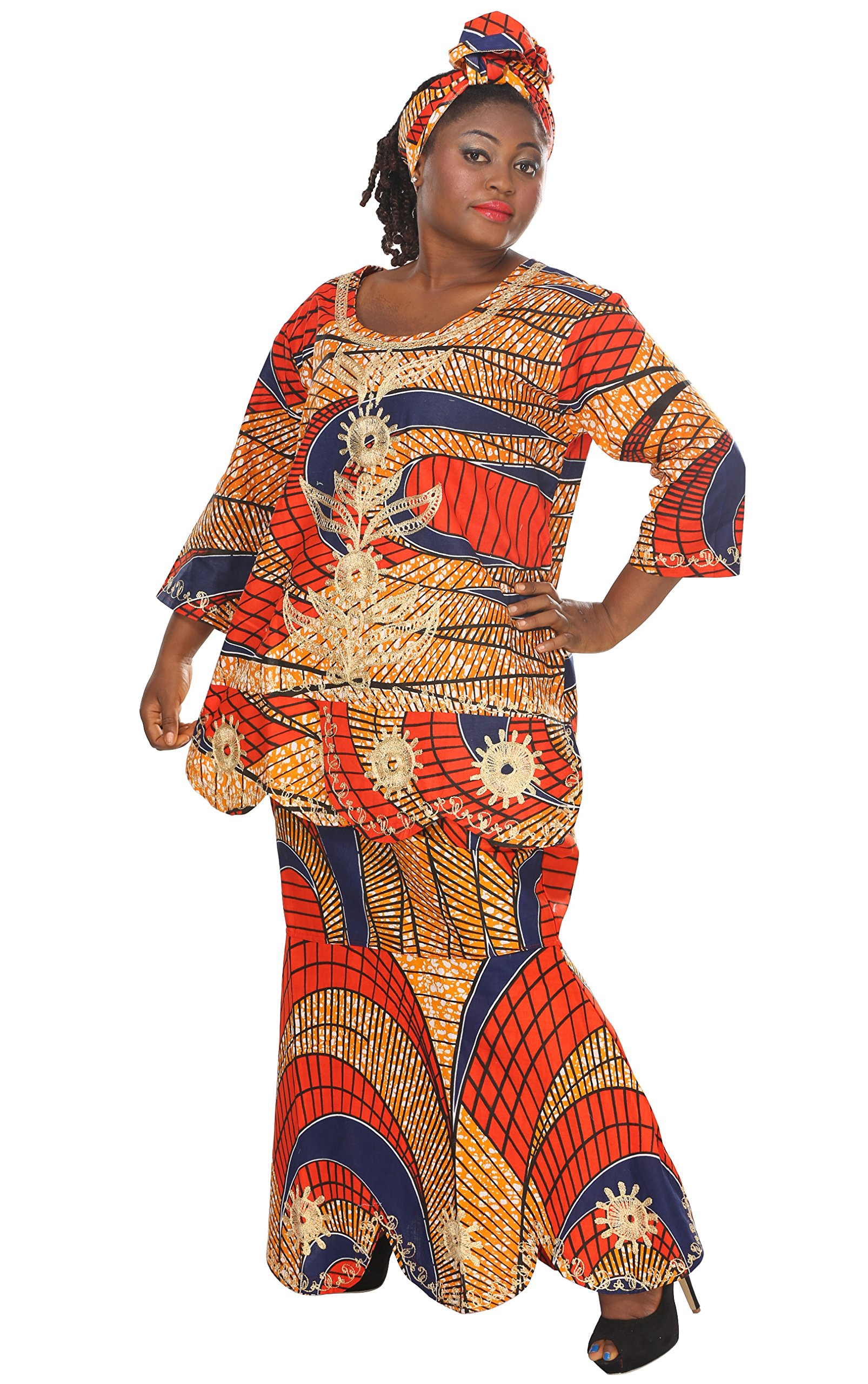 African Planet Women's Gambia Wax Inpsired Embroidered Drawstring Skirt Set