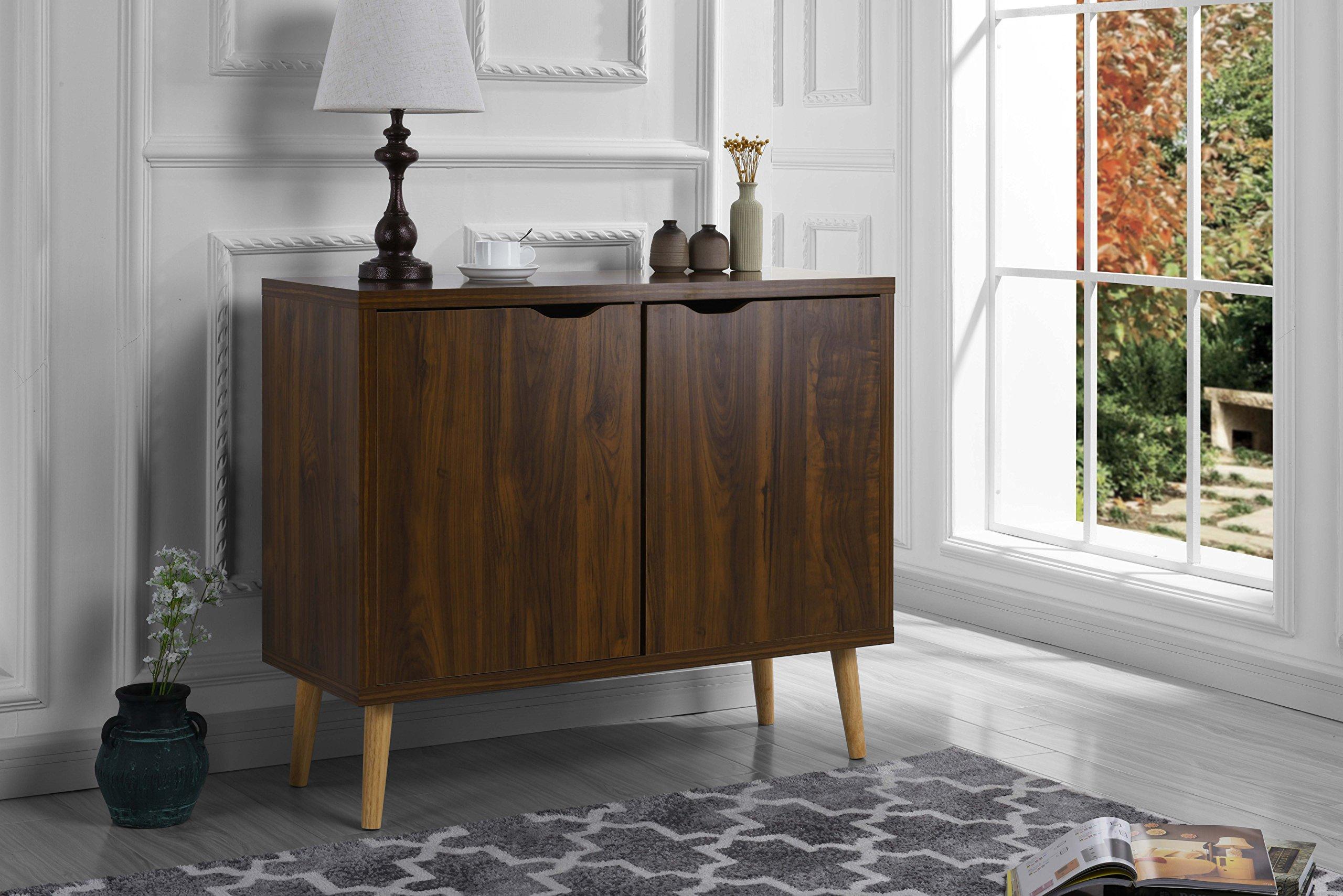 Mid-Century Modern 2 Door Entryway Home Storage Cabinet, TV Stand with Cupboard Doors (Brown)