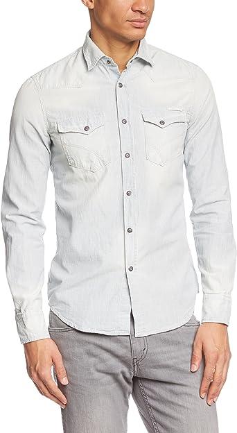 GAS Kant - Camisa Regular fit de Manga Larga para Hombre, Talla L/XL, Color Azul (We 092): Amazon.es: Ropa y accesorios