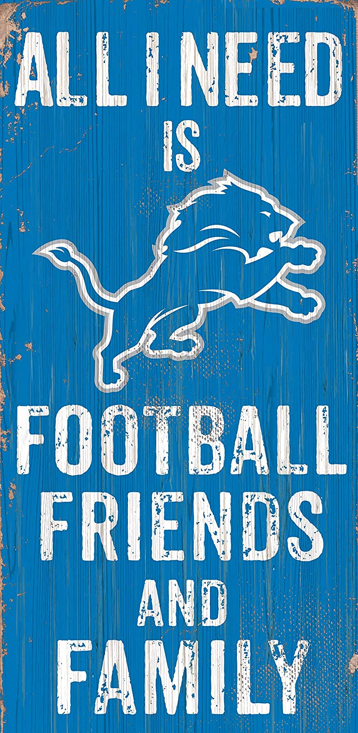 Fan Creations Detroit Lions All I Need is Football Friends and Family Wood Sign