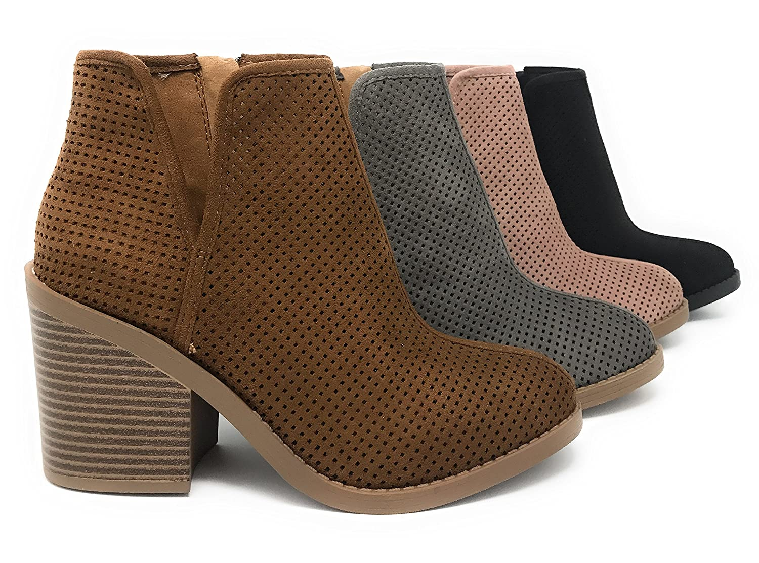 57064d099ccd MVE Shoes Soda Womens Target Perforated Stacked Block Heel Ankle Bootie