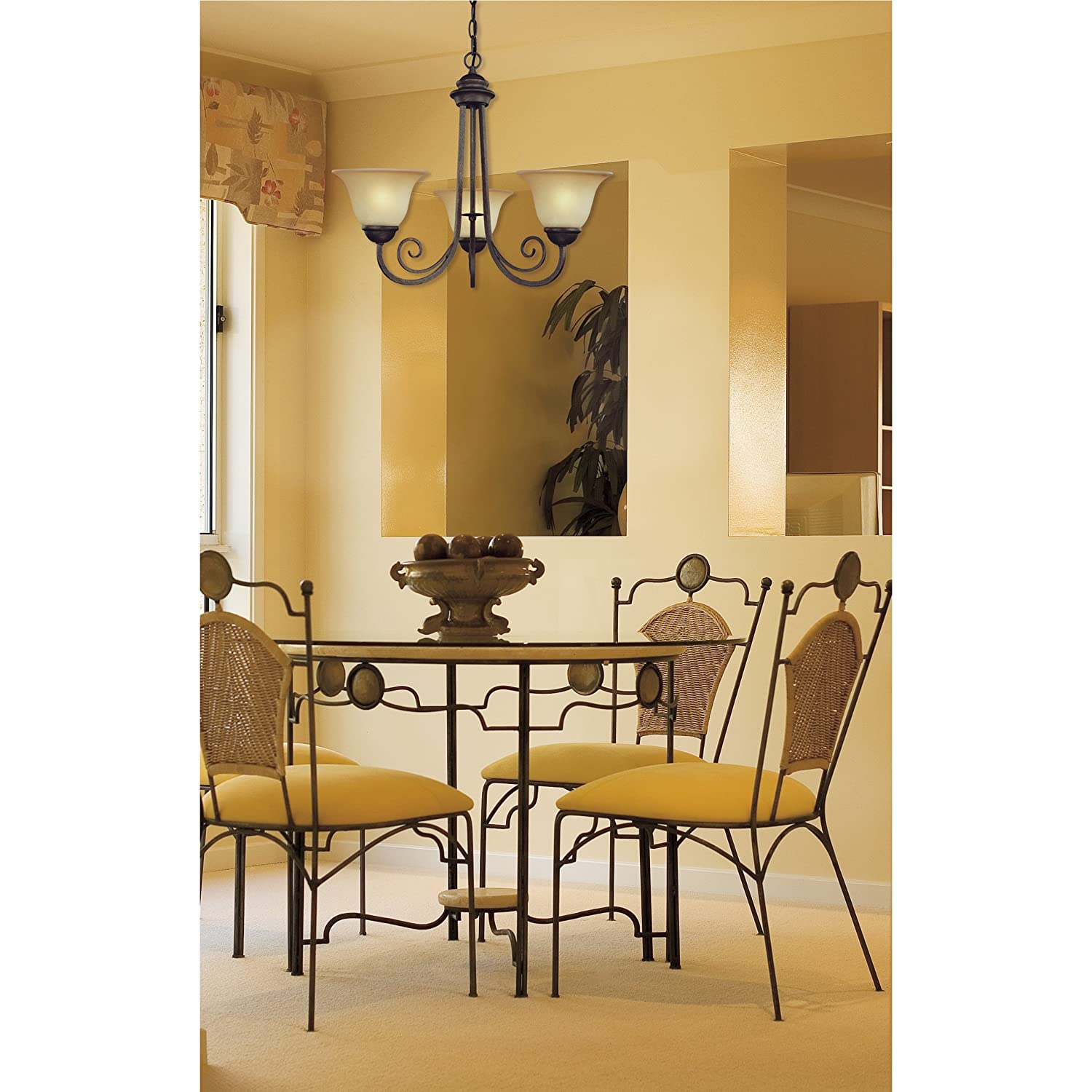 Westinghouse 6658700 Three Light Interior Chandelier Ebony Bronze Finish with Aged Alabaster Glass