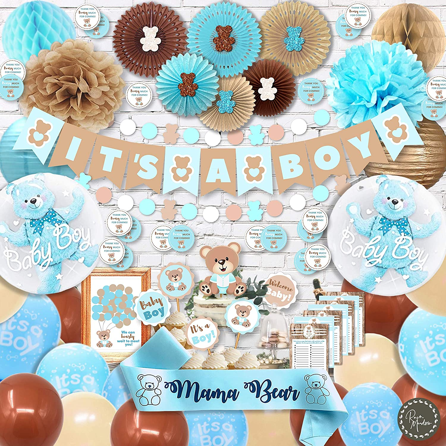 RainMeadow Teddy Bear Baby Shower Decorations for Boy It's A Boy Banner, Sash, Guestbook, Favour Stickers, Game Cards, Paper Lanterns, Honeycombs, Pom-poms, Cake Toppers, Balloons