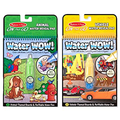 Melissa & Doug On the Go Water Wow! Reusable Water-Reveal Activity Pads, 2-pack, Vehicles, Animals: Toys & Games