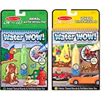 Melissa & Doug on The Go Water Wow! Reusable Water-Reveal Activity Pads, Vehicle & Animal Watercolor Books, Chunky-Size Water Pen, 2-Pack