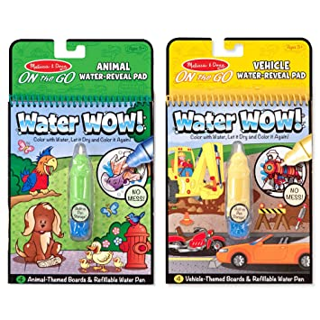 Melissa & Doug On the Go Water Wow! The Original Reusable Water-Reveal  Activity Pads, Vehicle & Animal Watercolor Books, 2-Pack, Great Gift for  Girls ...
