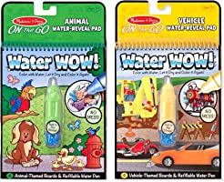 Melissa & Doug On the Go Water Wow! The Original Reusable Water-Reveal Activity Pads, Vehicle & Animal Watercolor Books,...