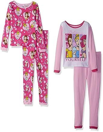 153ff7840e79 Amazon.com  Disney Girls  Multi-Princess 4-Piece Cotton Pajama Set ...